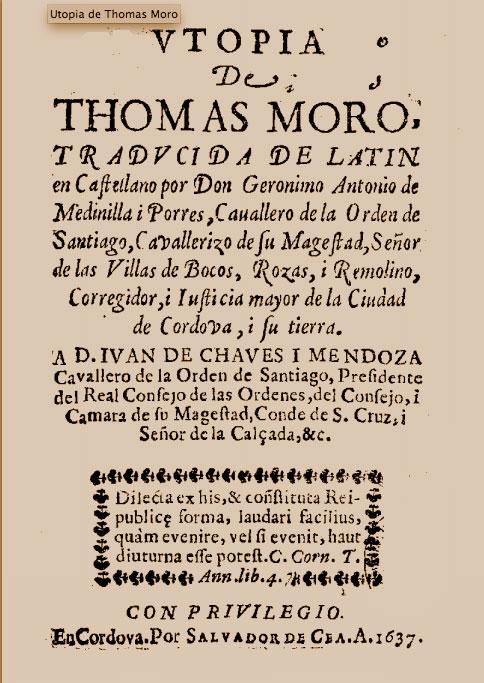 Portada de la primera edición en castellano de la Utopía de Tomas Moro.